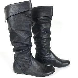 Steve Madden Brio Black Knee High Leather Boots